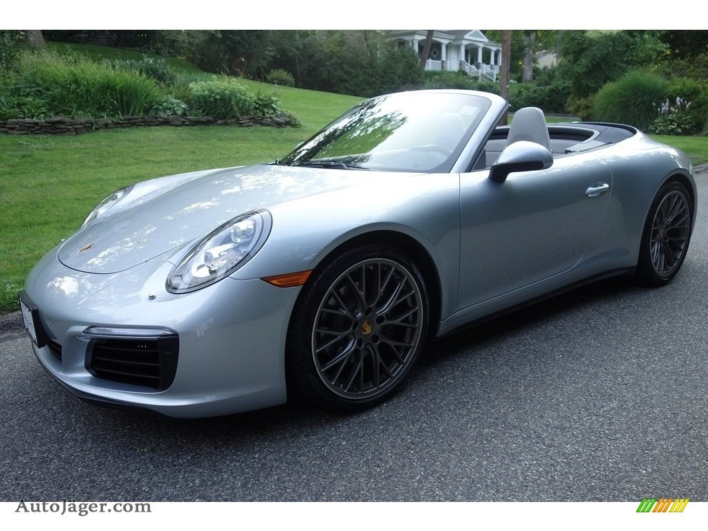 Rhodium Silver Metallic / Graphite Blue/Chalk Porsche 911 Carrera 4 Cabriolet