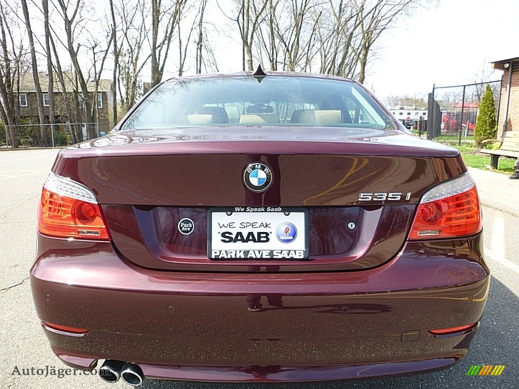 2009 5 Series 535xi Sedan - Barbera Red Metallic / Natural Brown Dakota Leather photo #4