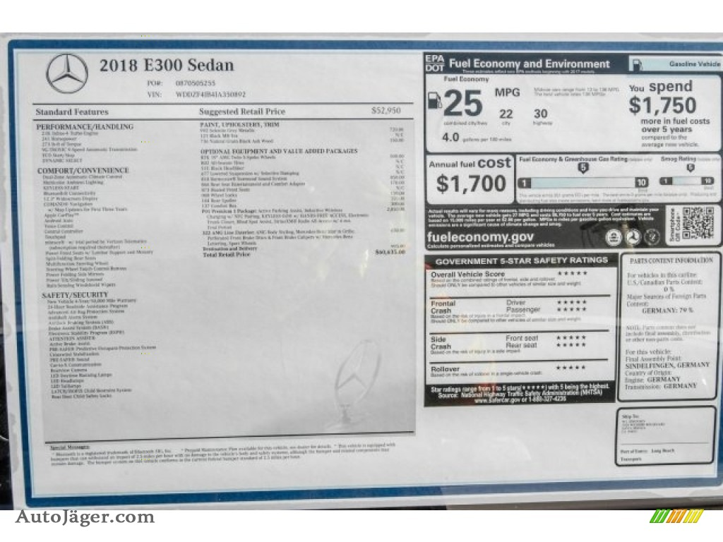 2018 E 300 Sedan - Selenite Grey Metallic / Black photo #11