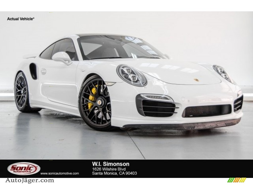 2014 911 Turbo S Coupe - White / Black/Luxor Beige photo #1