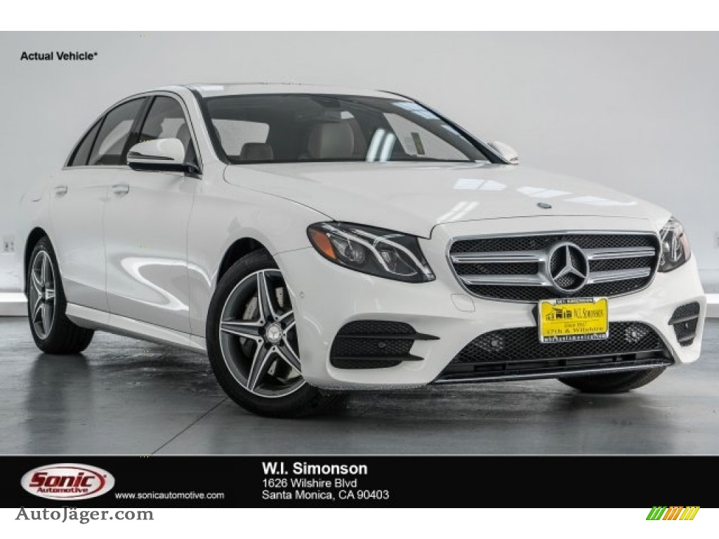 2018 E 300 Sedan - Polar White / Macchiato Beige/Black photo #1