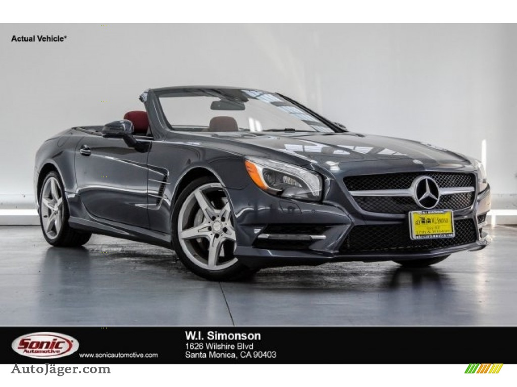 2015 SL 400 Roadster - Steel Grey Metallic / Bengal Red/Black photo #1