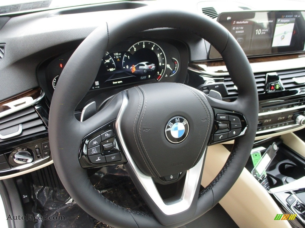 2018 5 Series 540i xDrive Sedan - Alpine White / Canberra Beige/Black photo #14