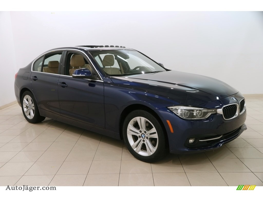 2017 3 Series 330i xDrive Sedan - Mediterranean Blue Metallic / Venetian Beige/Black photo #1