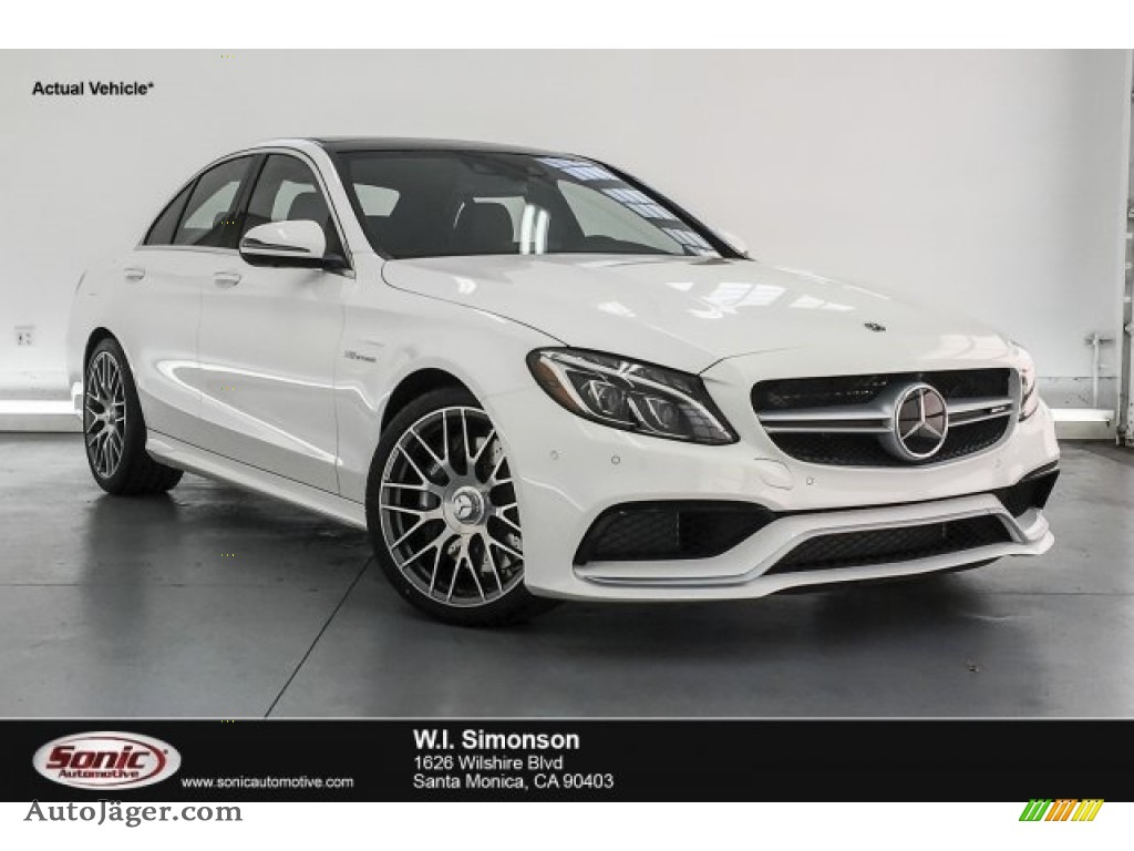 2018 C 63 AMG Sedan - Polar White / Red Pepper/Black photo #1
