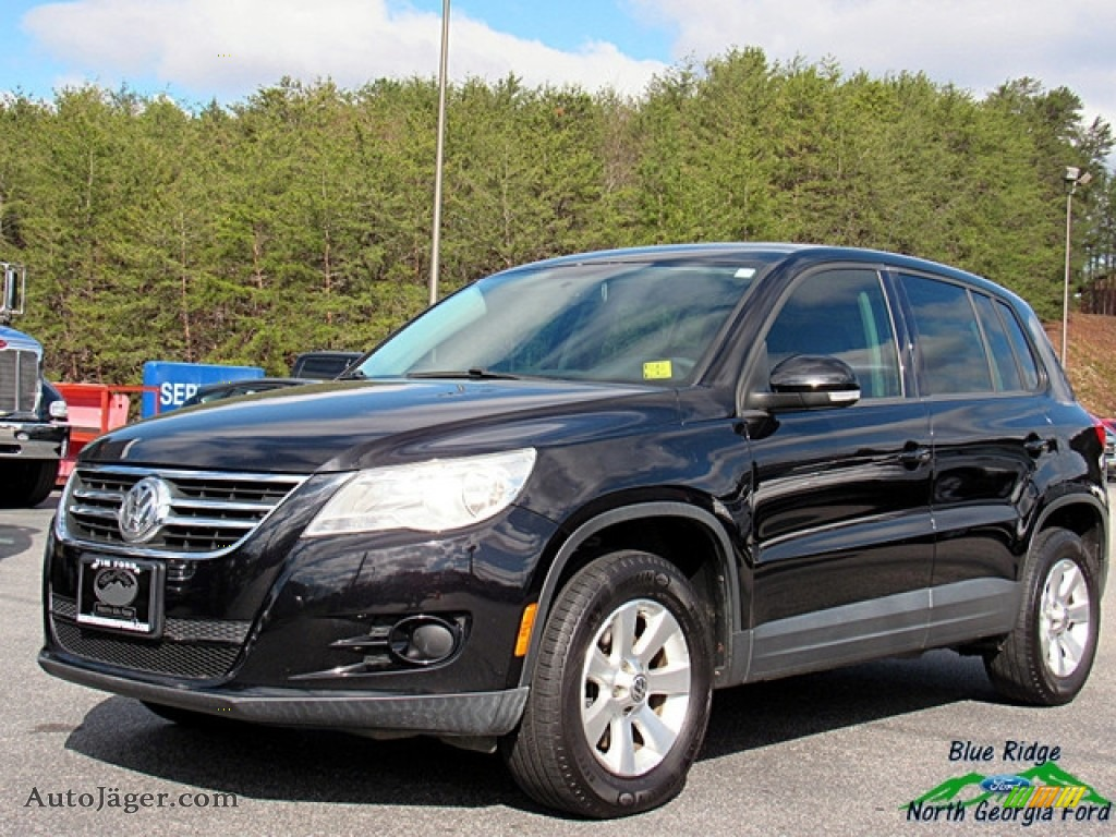 2009 Tiguan S - Deep Black Metallic / Charcoal photo #1