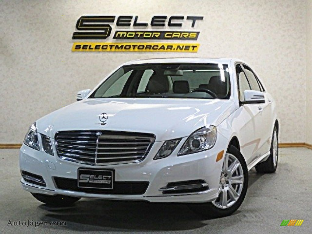 2013 E 350 4Matic Sedan - Polar White / Almond/Black photo #1