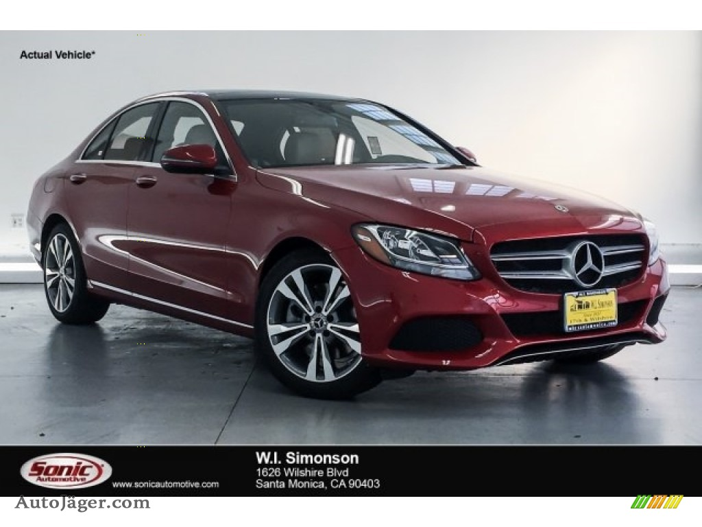 2018 C 300 Sedan - designo Cardinal Red Metallic / Silk Beige/Black photo #1