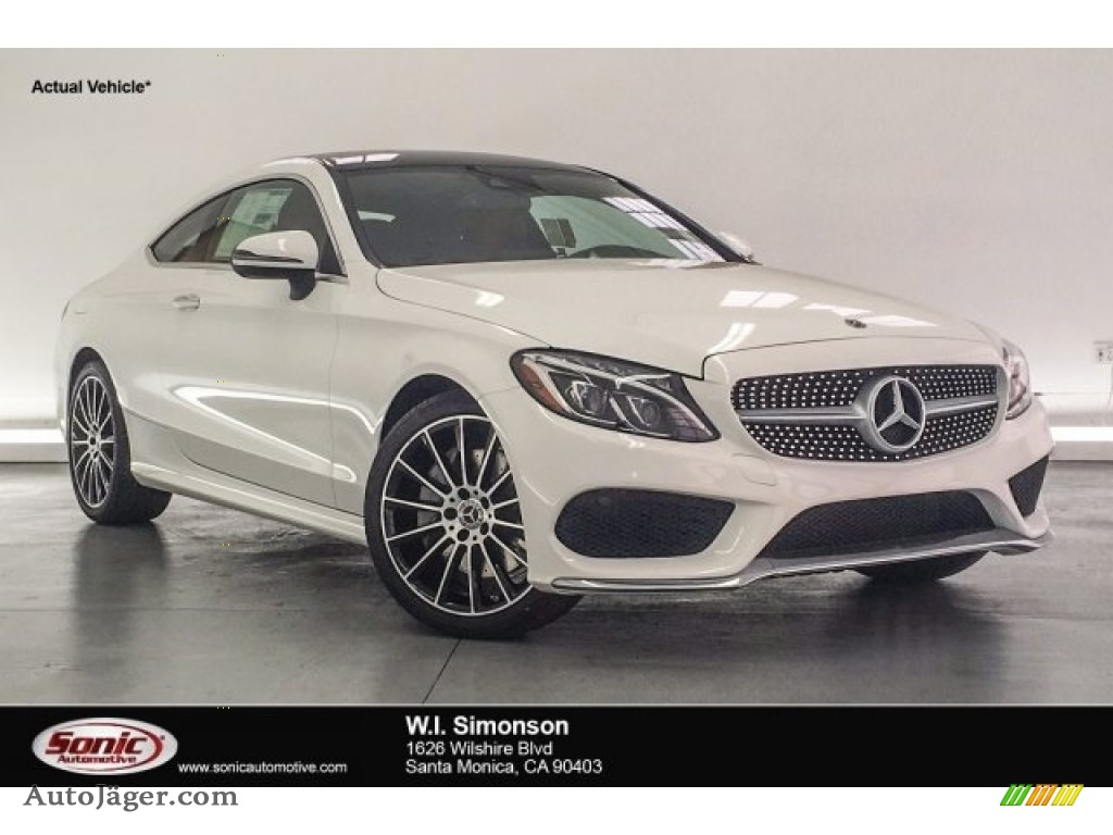 2018 C 300 Coupe - Polar White / Cranberry Red/Black photo #1