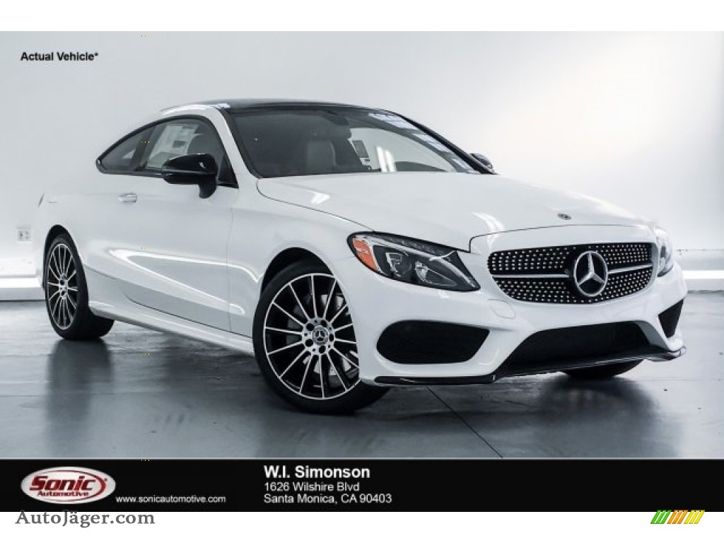 2018 C 300 Coupe - Polar White / Silk Beige/Black photo #1