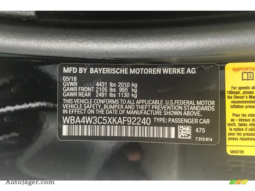 2019 4 Series 430i Coupe - Black Sapphire Metallic / Black photo #11
