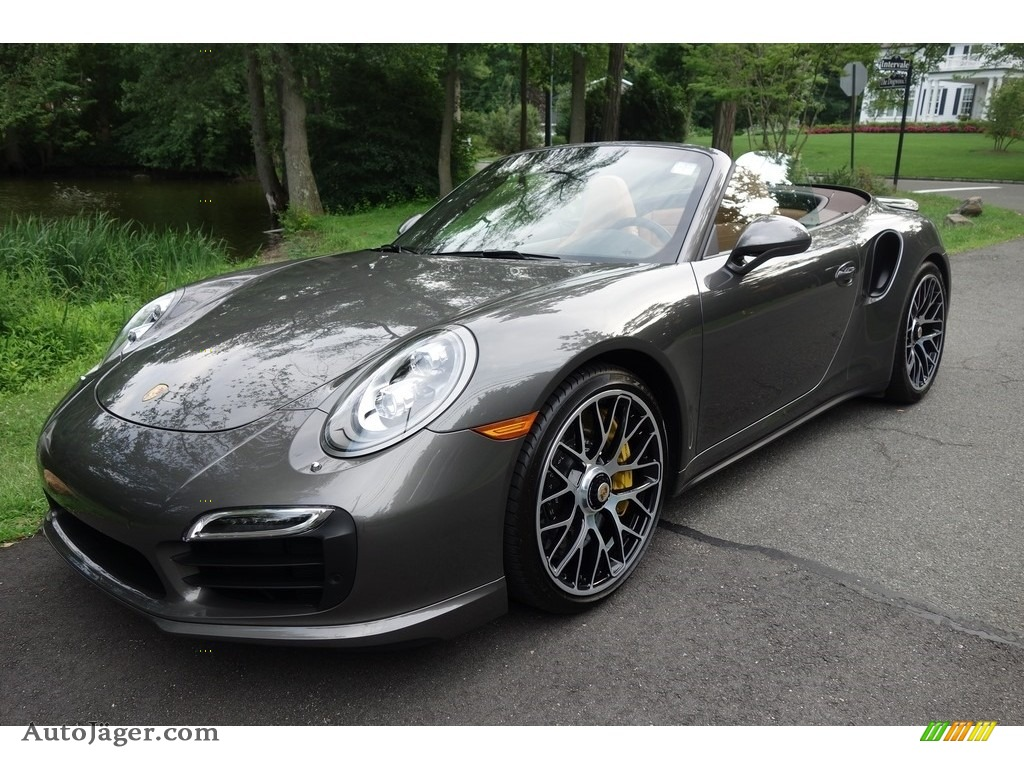 2015 911 Turbo S Cabriolet - Agate Grey Metallic / Espresso/Cognac Natural Leather photo #1