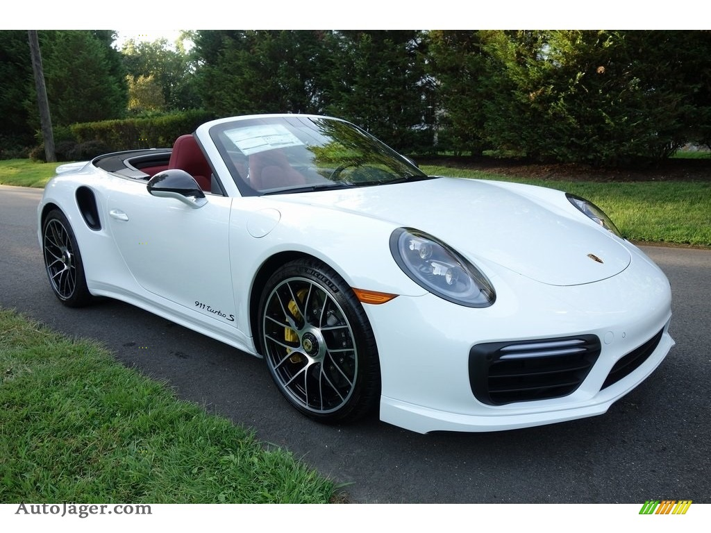 2019 911 Turbo S Cabriolet - White / Bordeaux Red photo #1