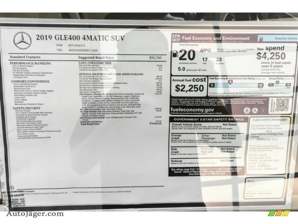 2019 GLE 400 4Matic - Lunar Blue Metallic / Ginger Beige/Espresso Brown photo #10