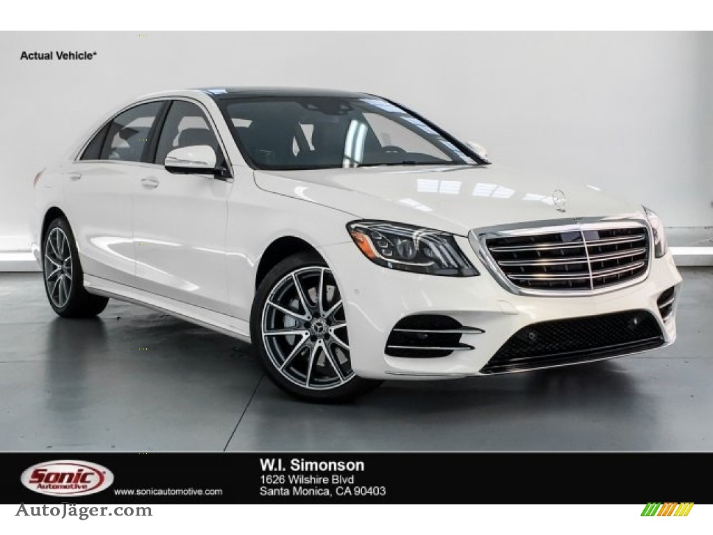 designo Diamond White Metallic / Black Mercedes-Benz S 450 Sedan