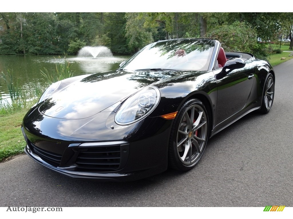 Jet Black Metallic / Black/Bordeaux Red Porsche 911 Carrera 4S Cabriolet