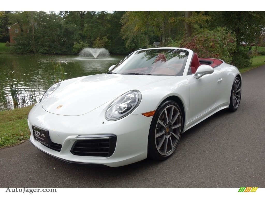 White / Bordeaux Red Porsche 911 Carrera 4S Cabriolet