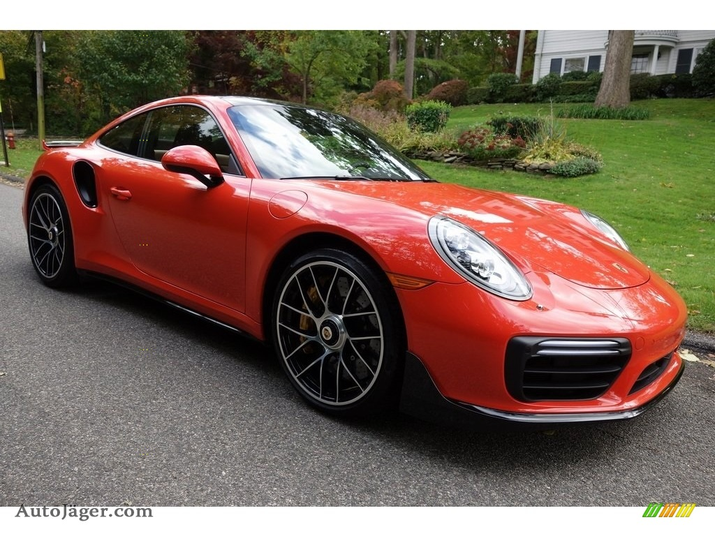 Lava Orange / Espresso/Cognac Natural Porsche 911 Turbo S Coupe