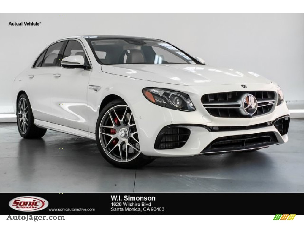 designo Diamond White Metallic / Macchiato Beige/Black Mercedes-Benz E AMG 63 S 4Matic Sedan