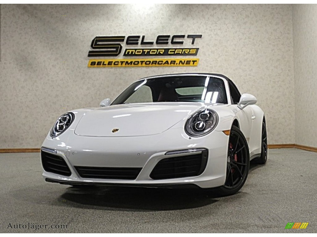 Carrara White Metallic / Black/Bordeaux Red Porsche 911 Carrera 4S Cabriolet