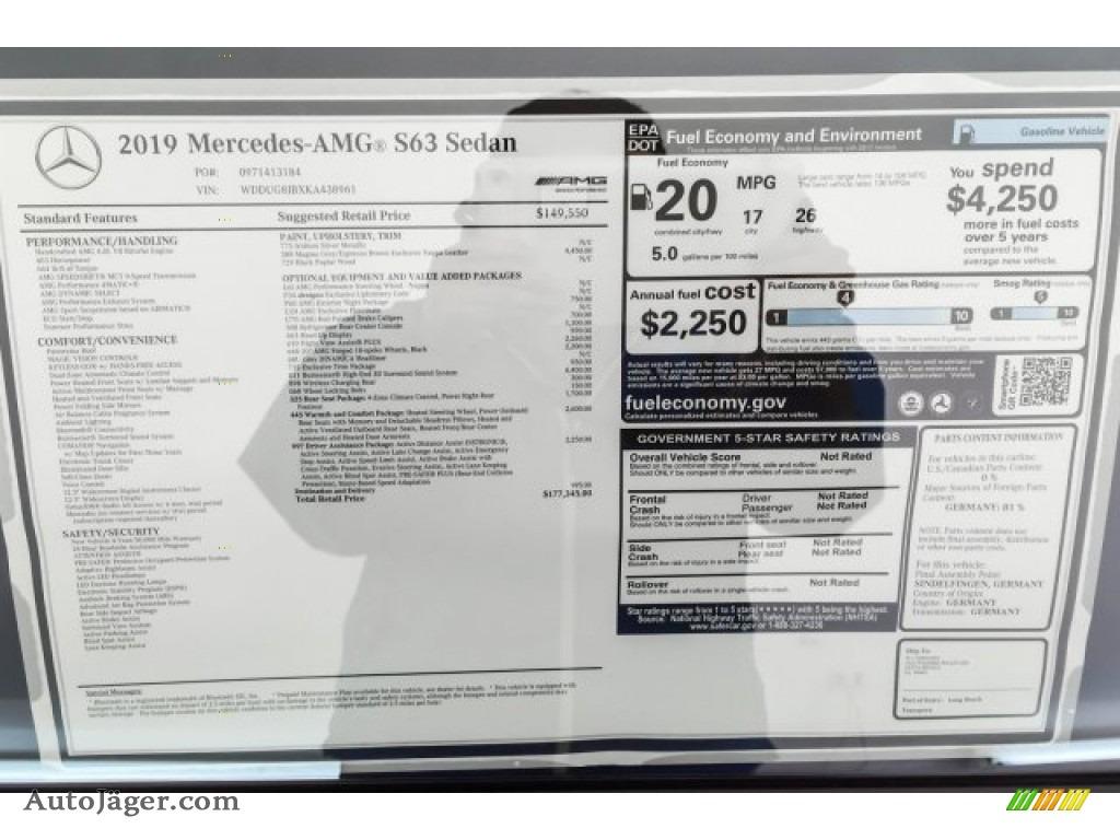 2019 S AMG 63 4Matic Sedan - Iridium Silver Metallic / Magma Grey/Espresso Brown photo #10