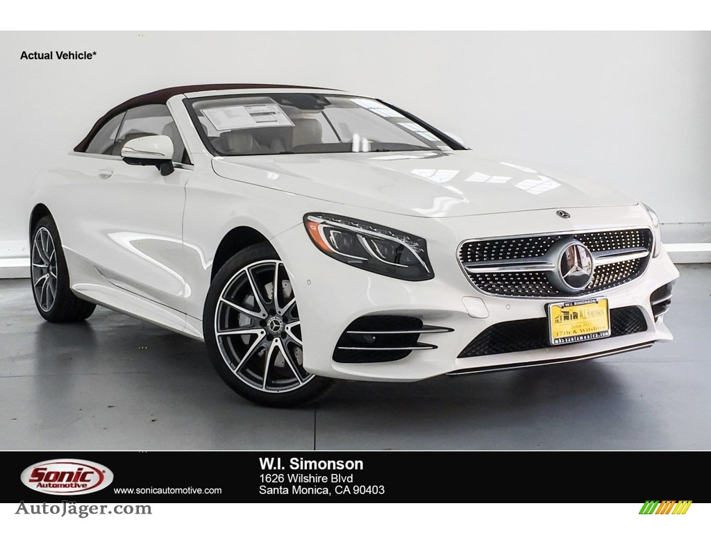 2019 S S 560 Cabriolet - designo Diamond White Metallic / designo Porcelain/Titian Red photo #1