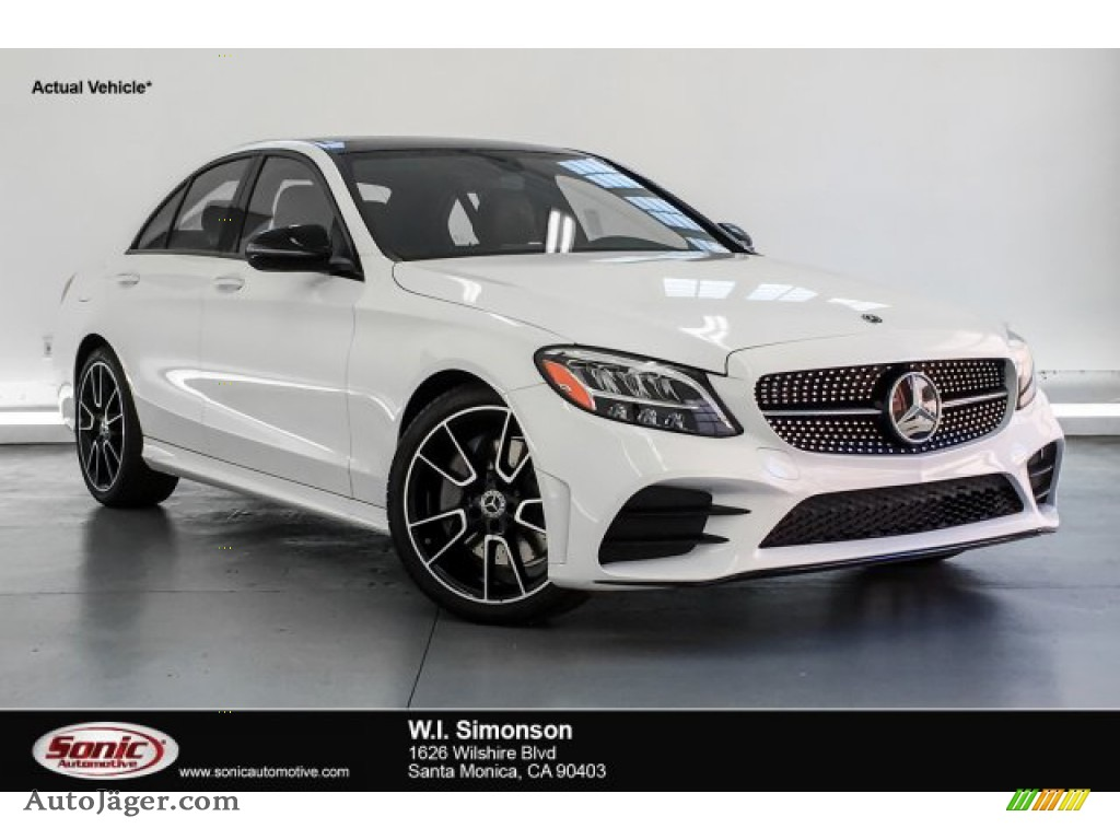 2019 C 300 Sedan - Polar White / Cranberry Red/Black photo #1