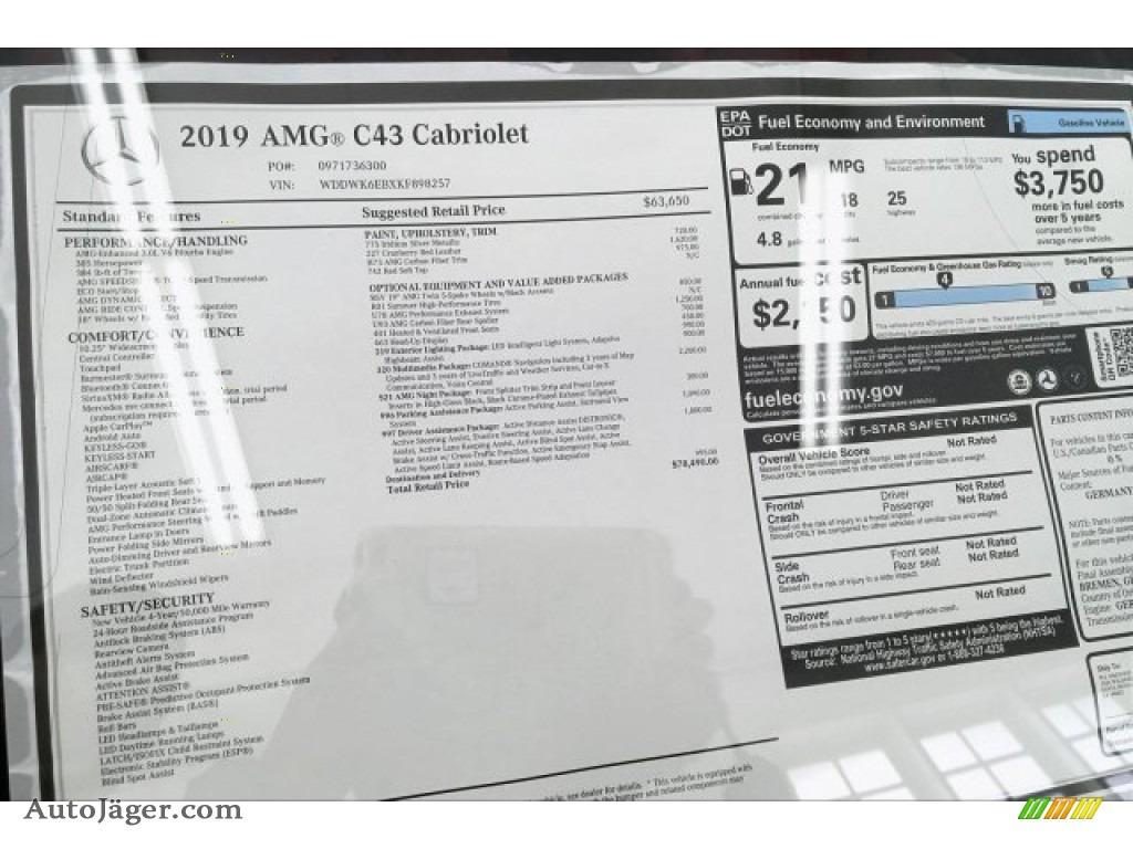 2019 C 43 AMG 4Matic Cabriolet - Iridium Silver Metallic / Cranberry Red/Black photo #10