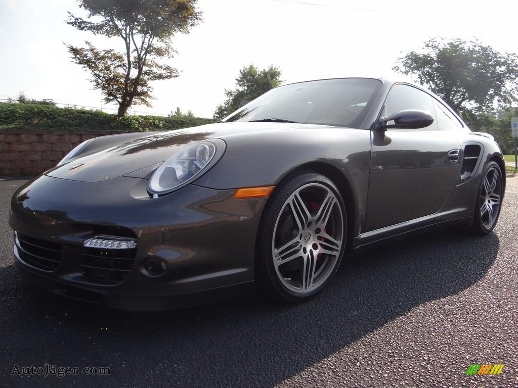 2008 911 Turbo Coupe - Slate Grey Metallic / Cocoa Brown photo #1