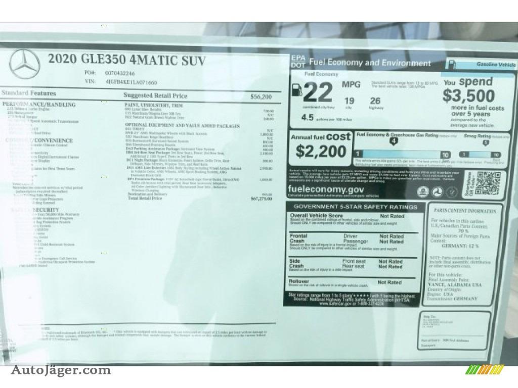 2020 GLE 350 4Matic - Lunar Blue Metallic / Macchiato Beige/Magma Grey photo #10