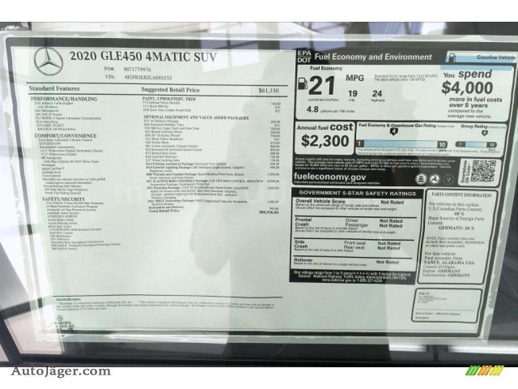2020 GLE 450 4Matic - Iridium Silver Metallic / Black photo #10