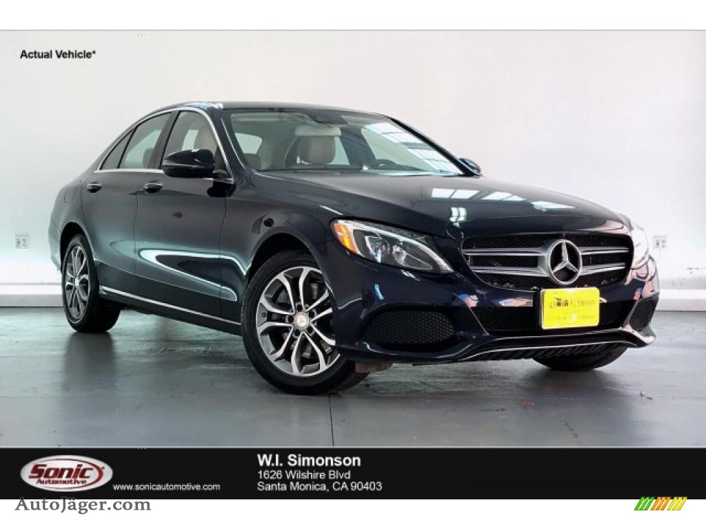 2016 C 300 4Matic Sedan - Lunar Blue Metallic / Silk Beige/Black photo #1