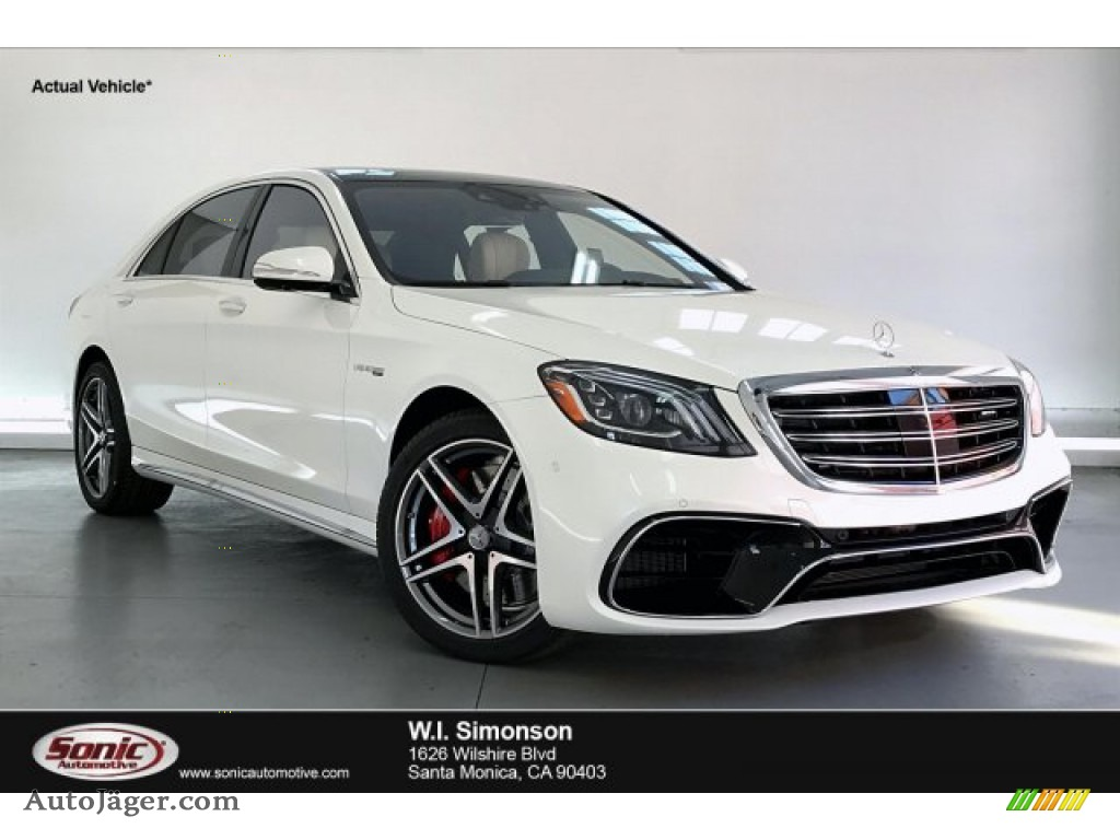 2020 S 63 AMG 4Matic Sedan - designo Diamond White Metallic / Porcelain/Black photo #1