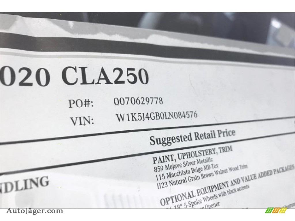 2020 CLA 250 Coupe - Mojave Silver Metallic / Macchiato Beige photo #11