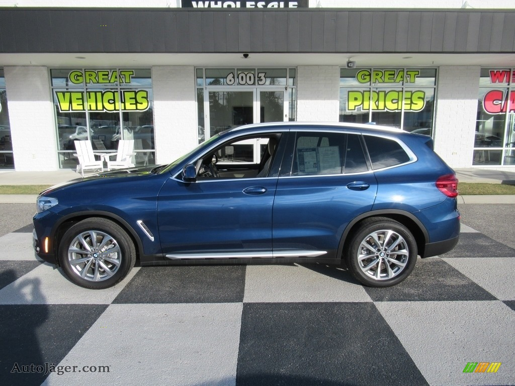 2019 X3 sDrive30i - Phytonic Blue Metallic / Canberra Beige/Black photo #1
