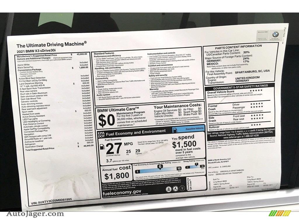 2021 X3 sDrive30i - Alpine White / Black photo #17