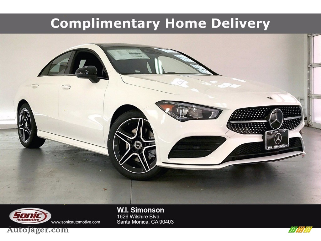 Polar White / Black Dinamica w/Red Stitching Mercedes-Benz CLA 250 Coupe