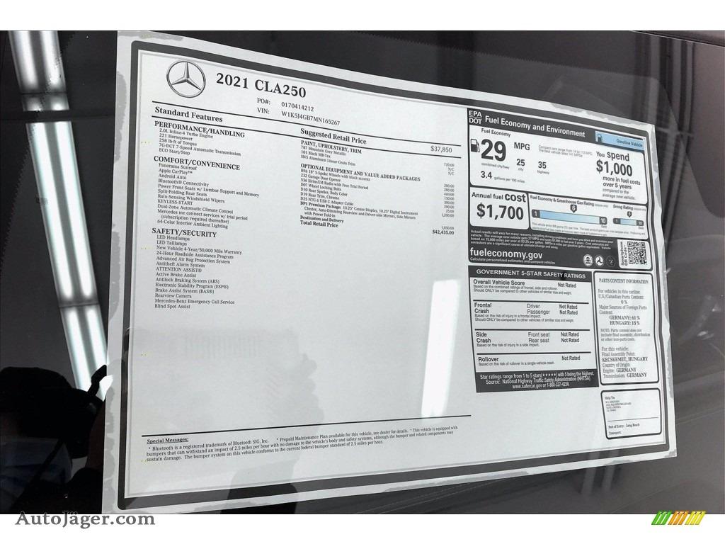 2021 CLA 250 Coupe - Mountain Gray Metallic / Black photo #10