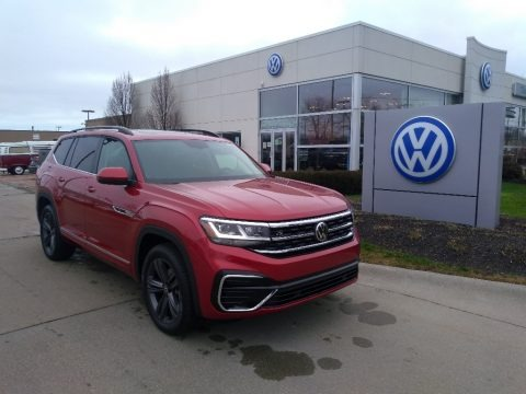 Aurora Red Metallic 2021 Volkswagen Atlas SE R-Line