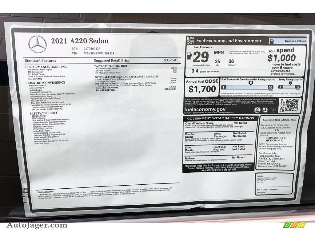 2021 A 220 Sedan - Mountain Grey Metallic / Black photo #13