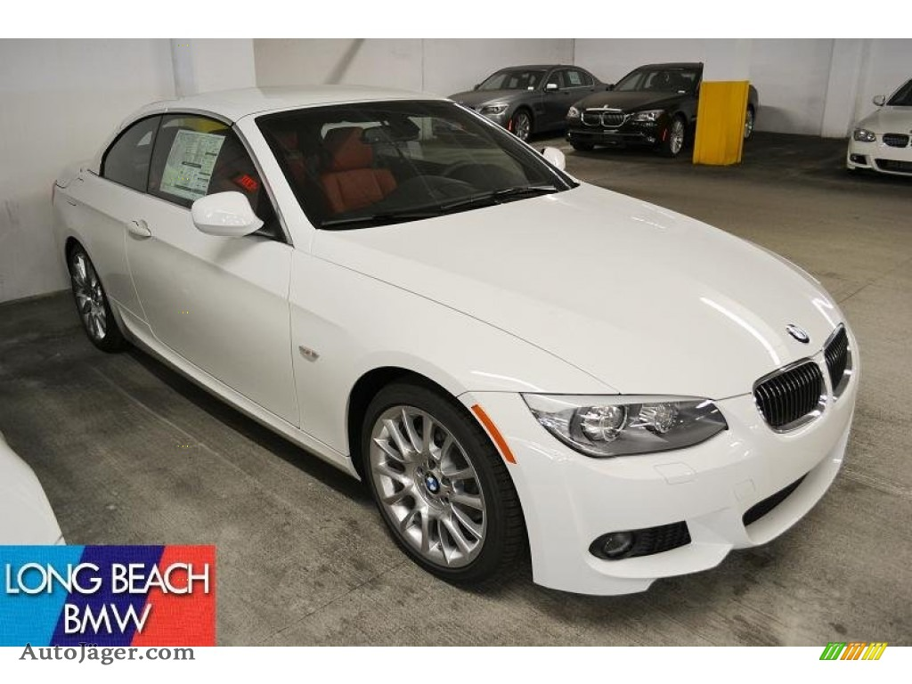 Alpine White / Coral Red/Black Dakota Leather BMW 3 Series 328i Convertible