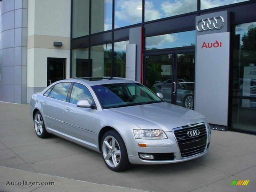 2008 Audi A8 L 4 2 Quattro In Ice Silver Metallic 010011