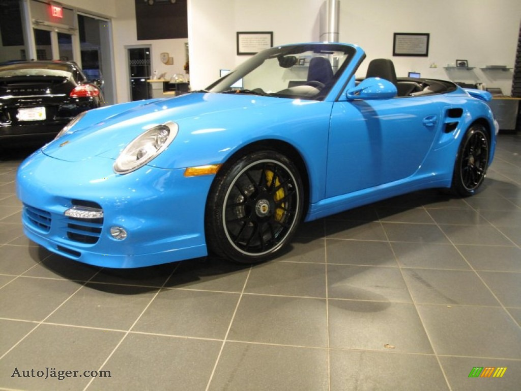2012 911 Turbo S Cabriolet - Paint to Sample Bright Blue / Black photo #1