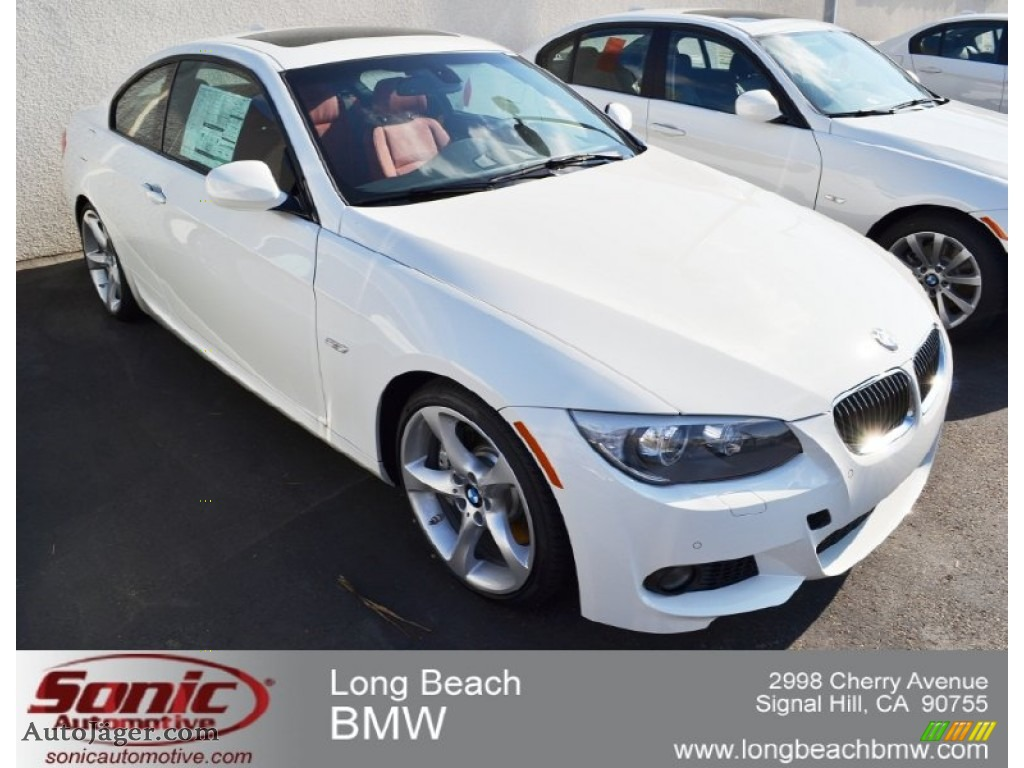 Alpine White / Coral Red/Black BMW 3 Series 335i Coupe