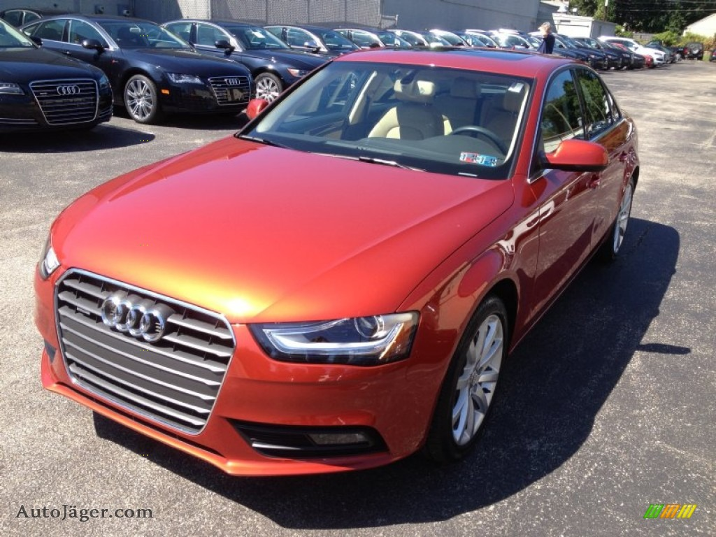 2013 A4 2.0T quattro Sedan - Volcano Red Metallic / Velvet Beige/Black ...